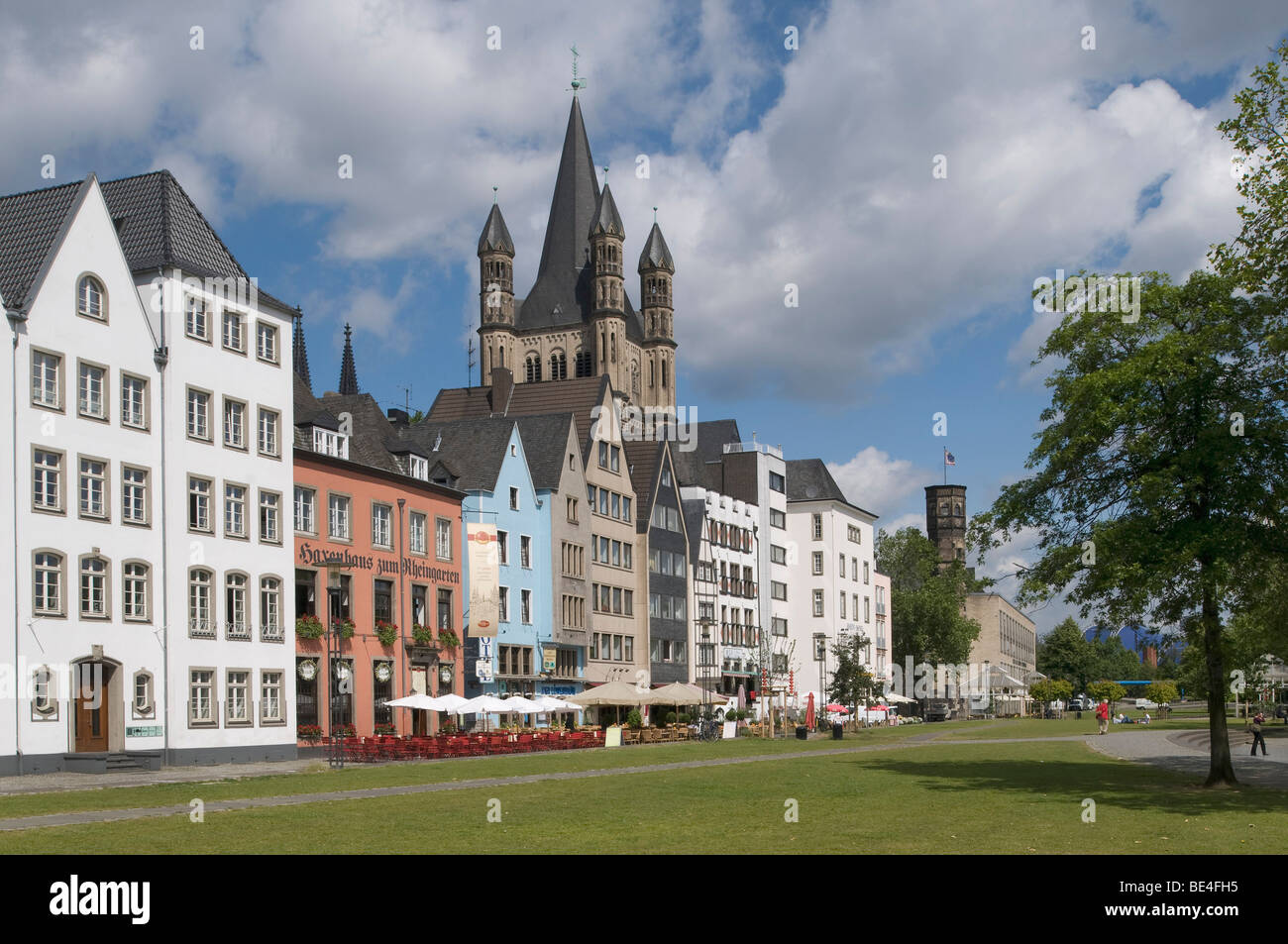 Row of houses of the Frankenwerft, St. Martins church and the stair tower of the Stapelhaus, Fish Market, historic - Stock Image