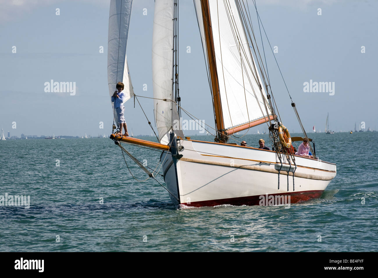 Bristol Pilot Cutter Polly Agatha Sail gaff rig bowsprit fast tough channel sailing Solent Charter holiday 1904 - Stock Image