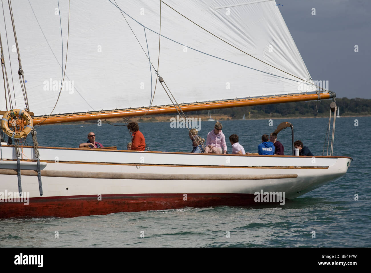 Bristol Pilot Cutter Polly Agatha Sail boom - Stock Image