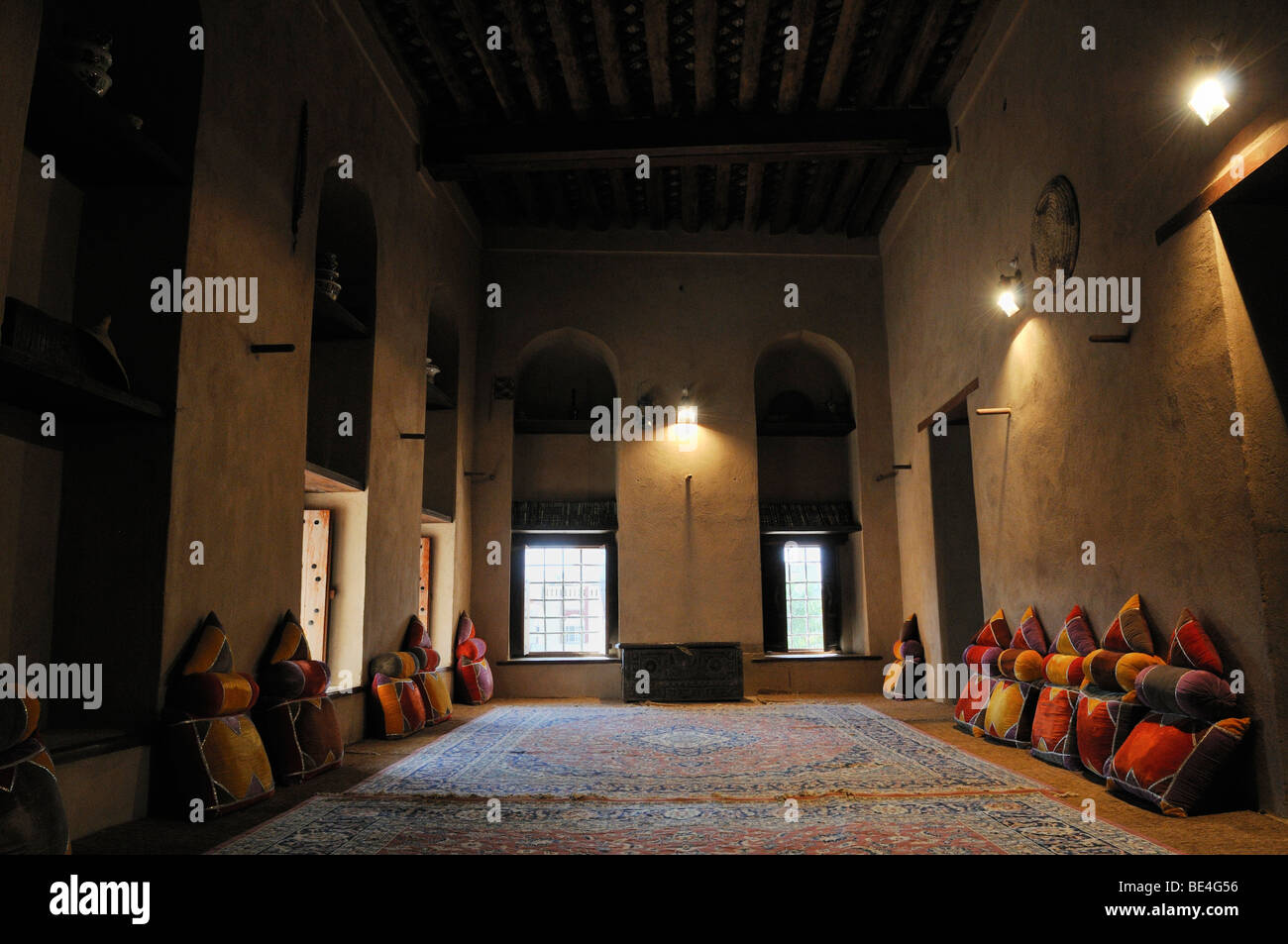 Traditional Arabian sitting room, Nizwa Fort or Castle, Hajar al Gharbi Mountains, Dhakiliya Region, Sultanate of - Stock Image