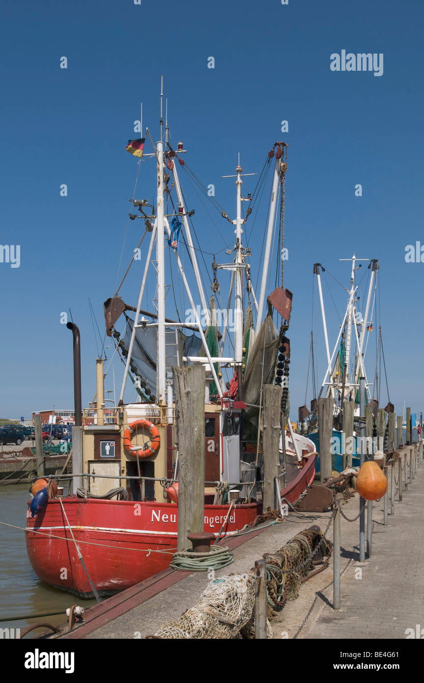 Shrimp cutter in the harbor of Neuharlingersiel, cutter with pulled-up fishing gear, Wadden Sea National Park, East - Stock Image