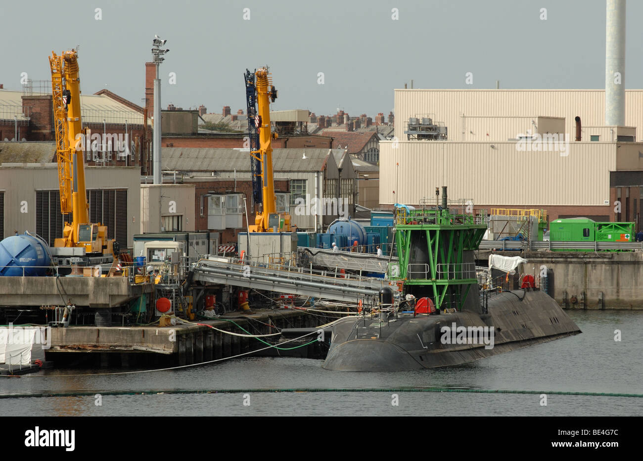 HMS Astute nuclear powered submerine under construction at Barrow in Furness Dock in Cumbria UK 2009 - Stock Image