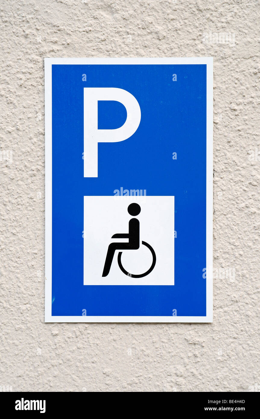 Parking, disabled, wheelchair users, sign, Germany, Europe - Stock Image