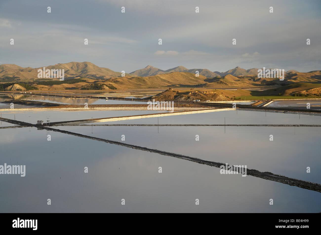 Evaporation Ponds (for Salt Works), Lake Grassmere, Marlborough, South Island, New Zealand - Stock Image