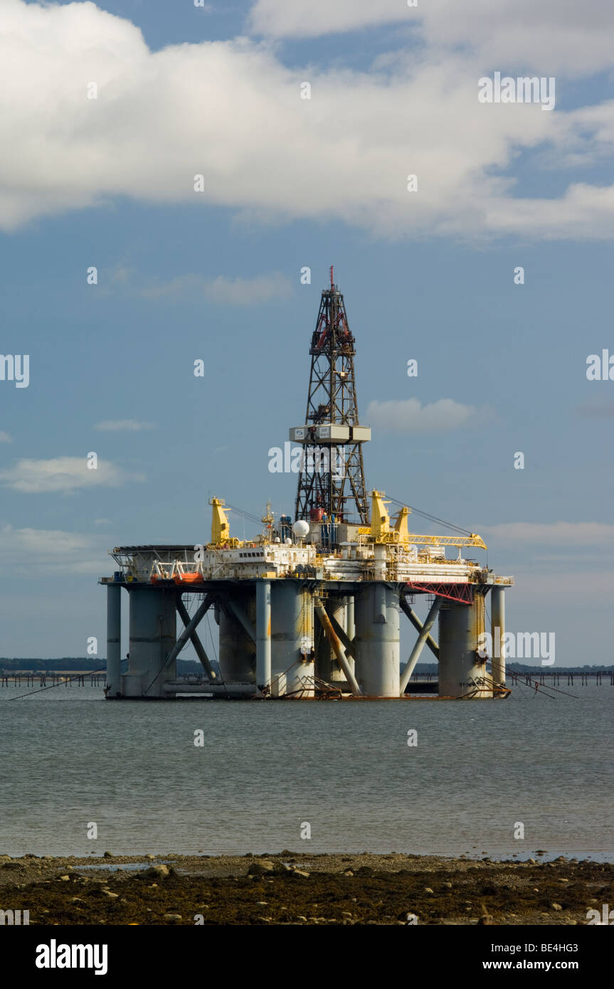 A semi-submersible oil drilling rig, the Arctic 2, moored in the Cromarty Firth - Stock Image