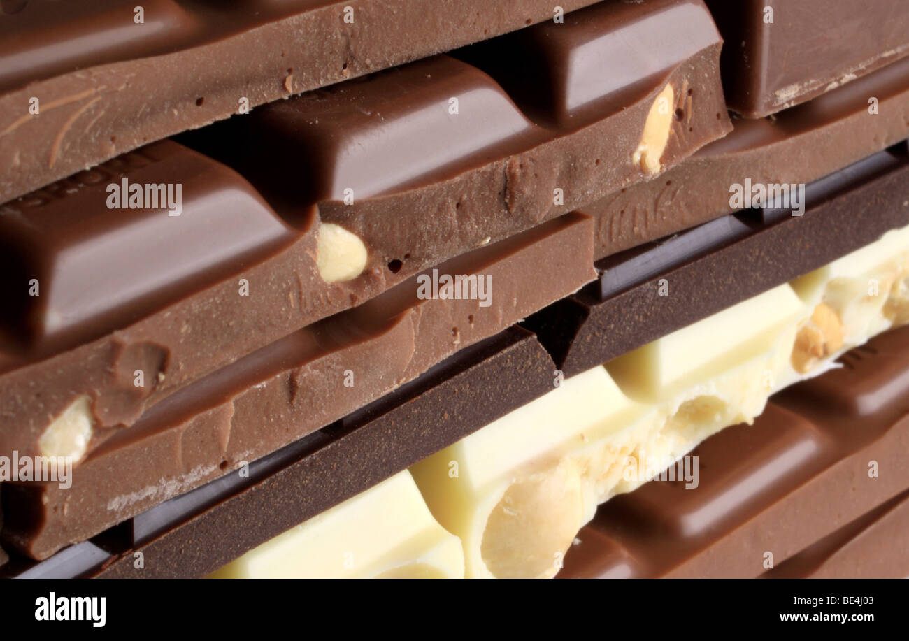 Chocolate, stacked bars - Stock Image