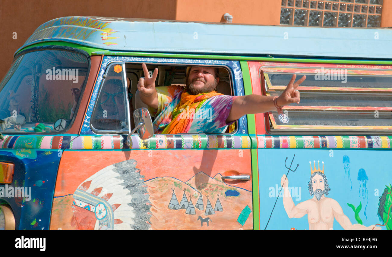 Yippies and Hippies are still with us, although somewhat older now, at the Street Festival in Carrizozo, New Mexico. - Stock Image