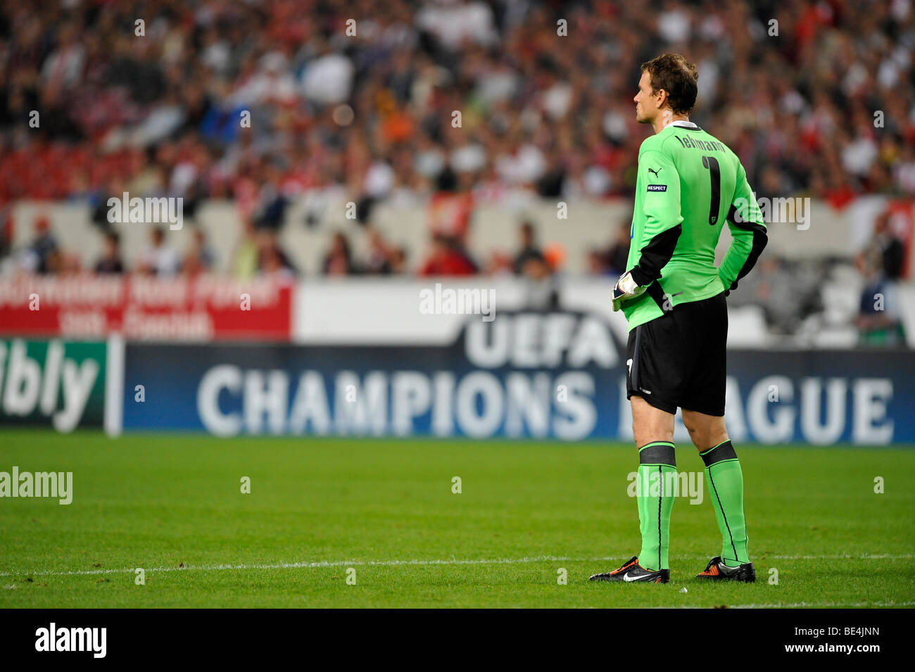 Goalkeeper Jens Lehmann, VfB Stuttgart, in front of advertising for the UEFA Champions League - Stock Image