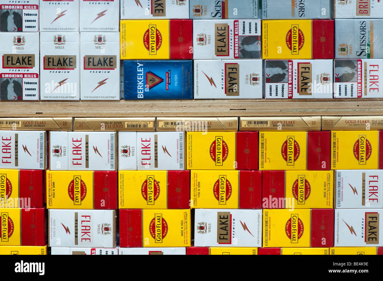 Cigarette packets in an indian shop. Andhra Pradesh, India - Stock Image