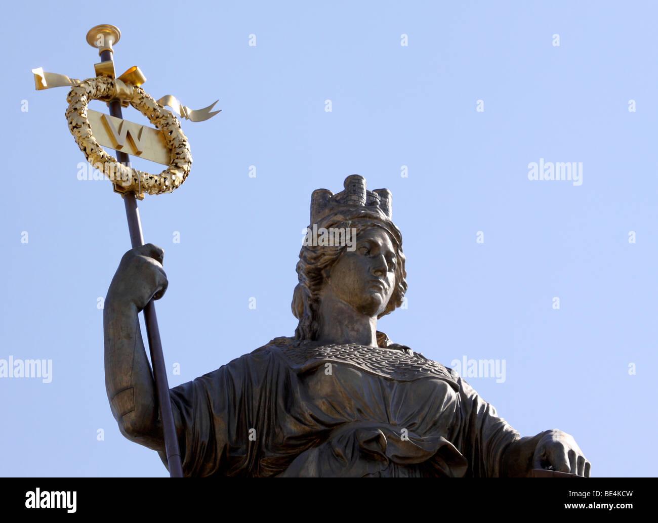 Brunonia statue on the castle arcades, Brunswick, Lower Saxony, Germany, Europe - Stock Image