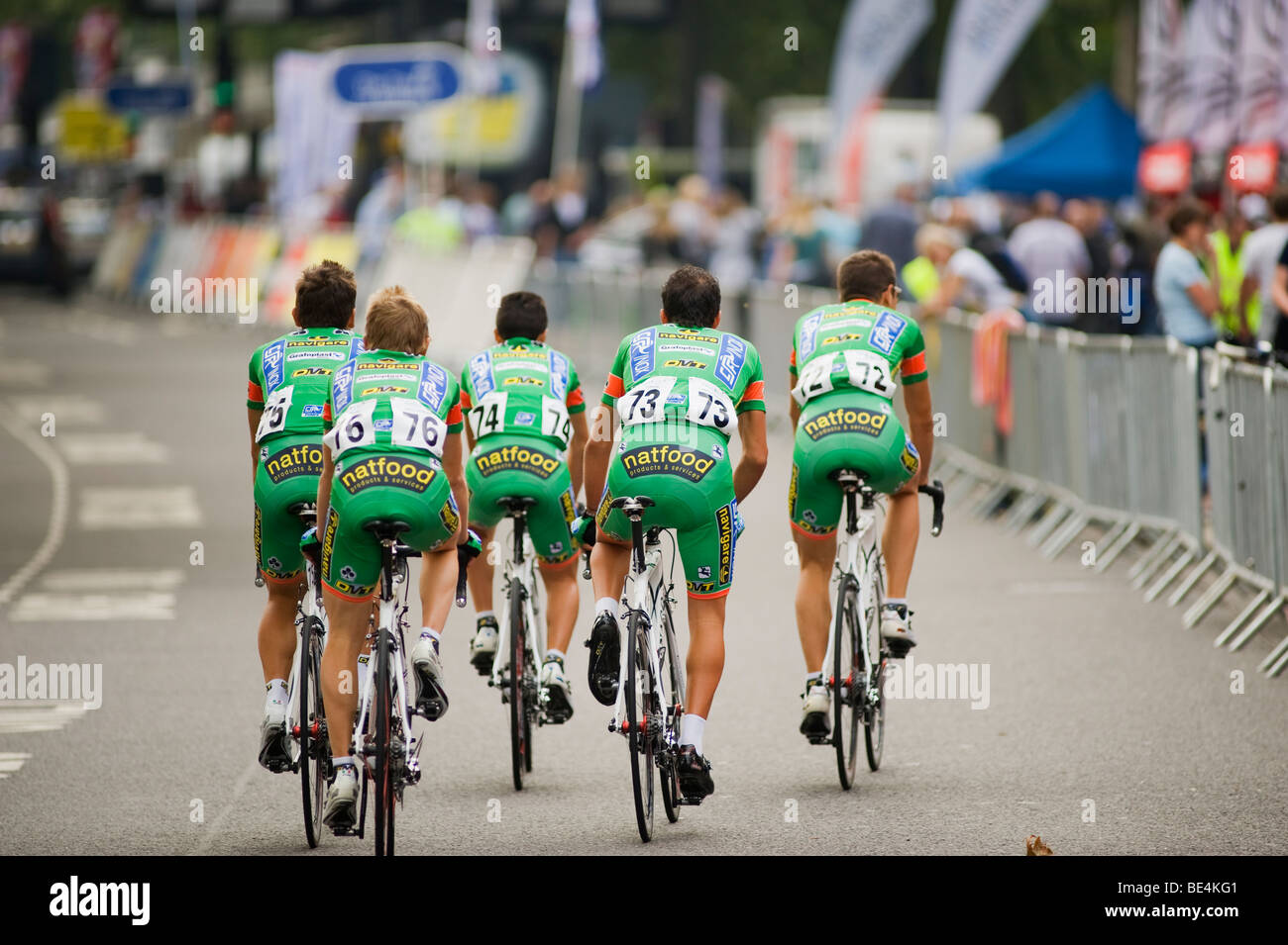 CSF Navigare team warm up on The Embankment, Tour of Britain Cycle Race, Stage 8, London - Stock Image