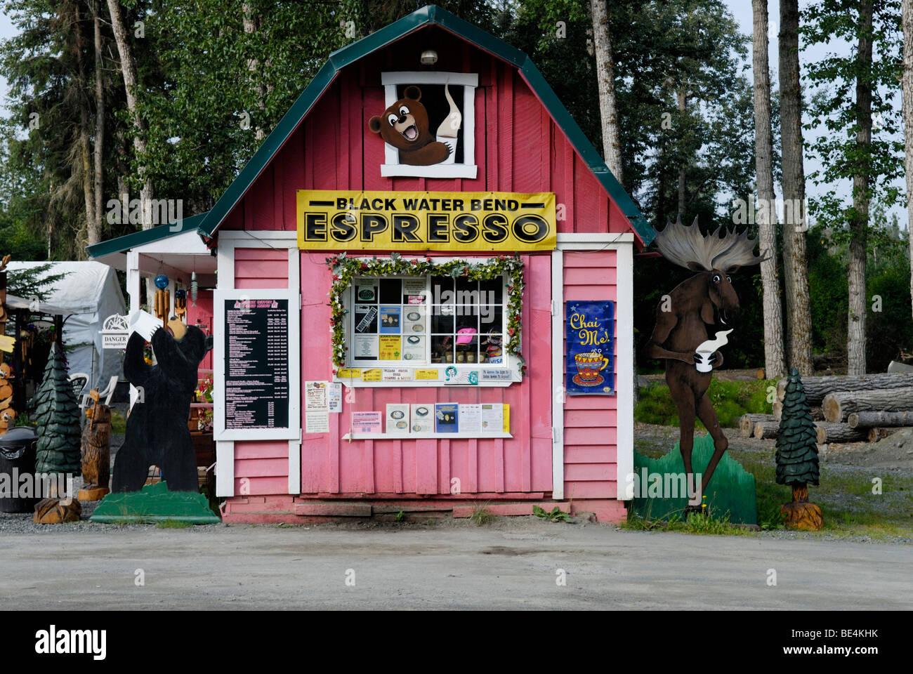 Drive-up, drive-thru coffee shack, Anchor Point, Alaska, near Homer, Sterling Highway, Kenai Peninsula - Stock Image
