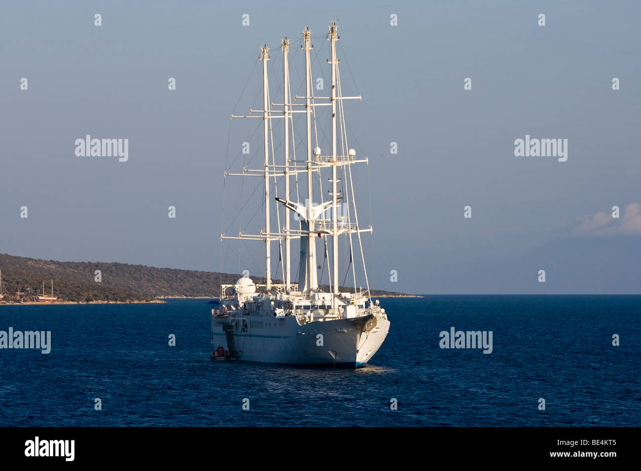 Wind Star Square Rigged Cruise Ship anchored in Bodrum Turkey - Stock Image