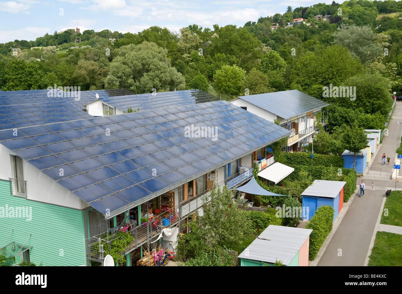 Solar roofs, Vauban, Freiburg, Baden-Wuerttemberg, Germany, Europe - Stock Image
