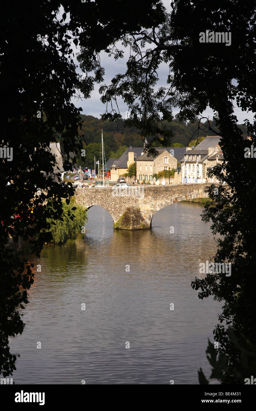 Scenic view of the river Rance in old Dinan France Stock Photo