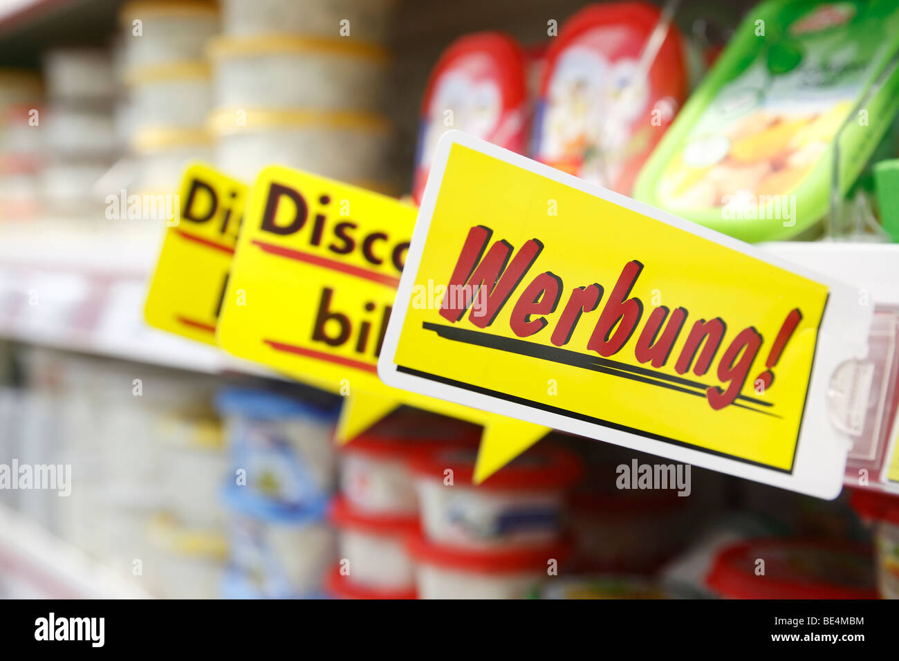 advertising sign in a German supermarket - Stock Image