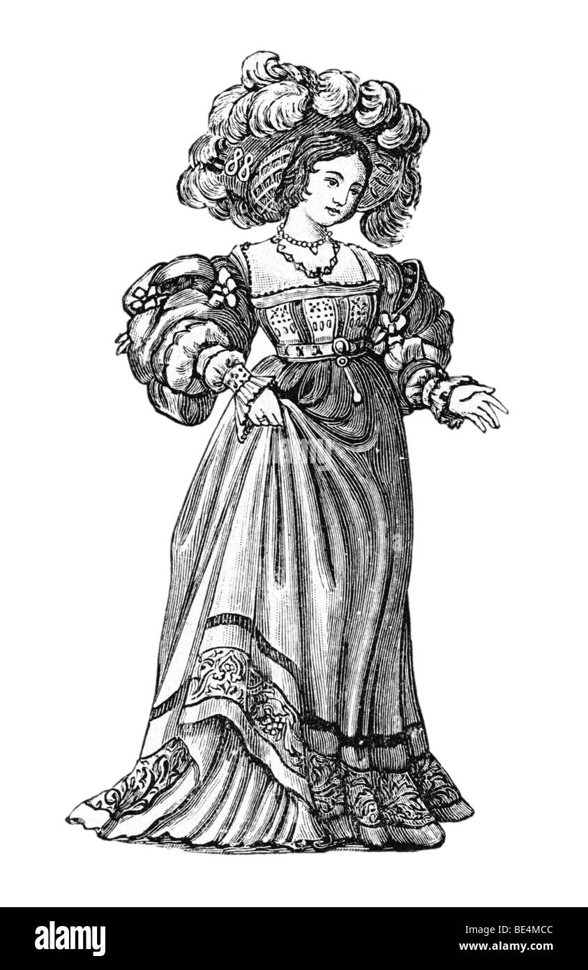 German costume, 1520, Historical Illustration from: Anna Fischer Dueckelmann: The woman as home doctor, 2 Aufl 1907, - Stock Image
