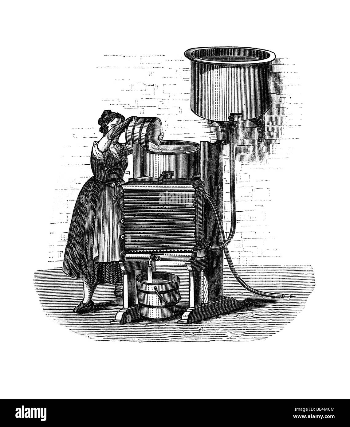 Neubeck'scher milk cooler, historical illustration from: Marie Adenfeller, Friedrich Werner: Illustriertes Koch - Stock Image