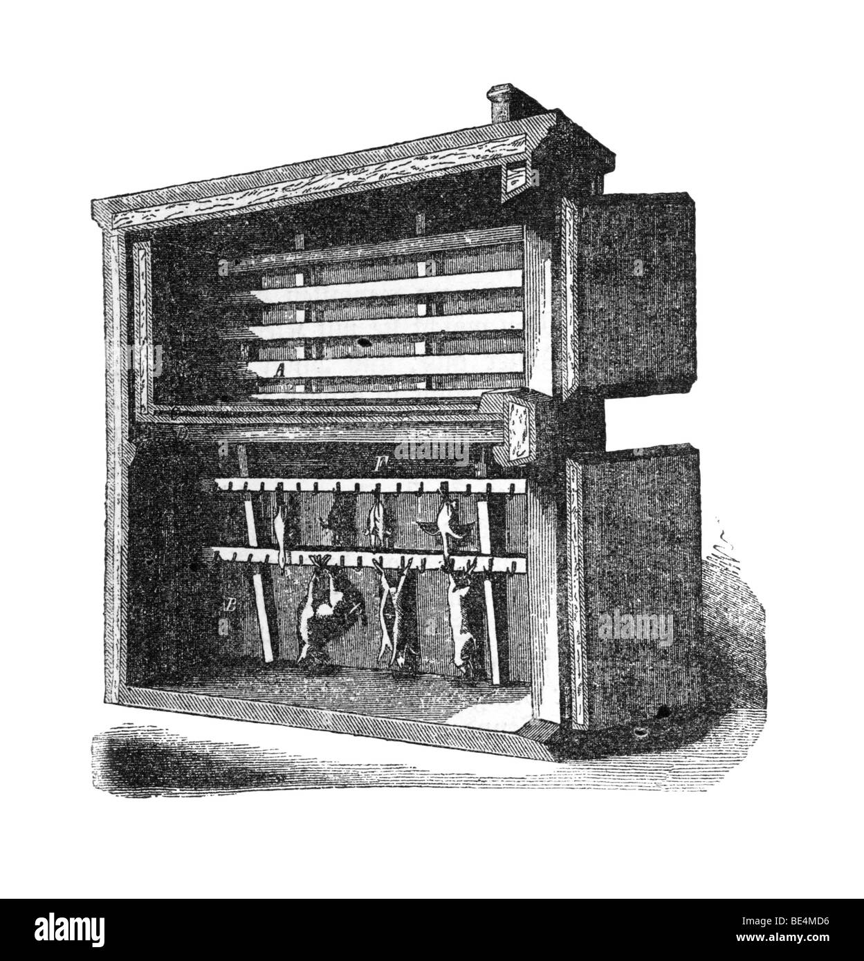 Improved ice box, historical illustration from: Marie Adenfeller, Friedrich Werner: Illustriertes Koch- und Haushaltungsbuch, - Stock Image