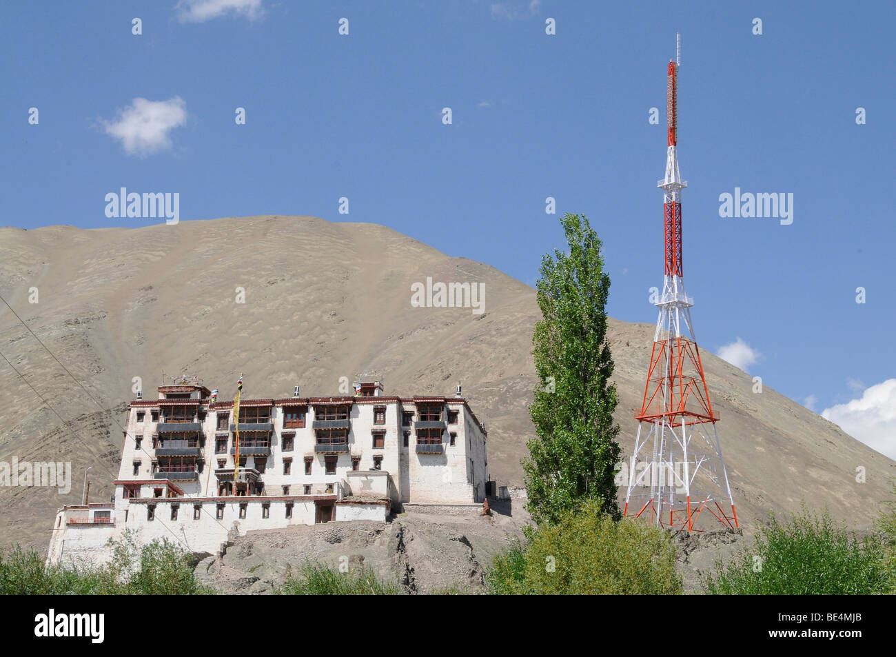 Stok Palace with the radio station of Ladakh, Northern India, the Himalayas, Asia - Stock Image