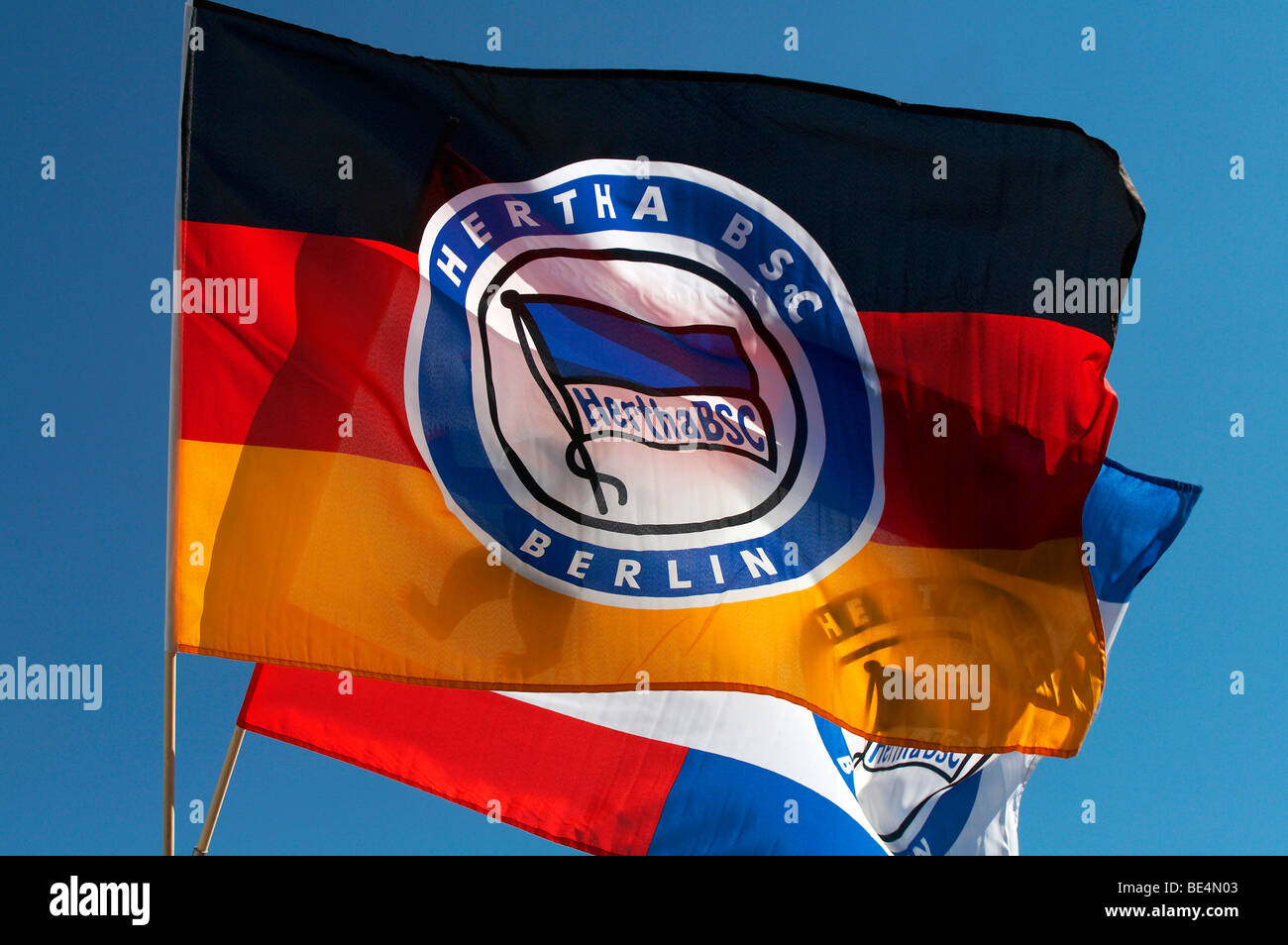 Germany flag with the emblem of Hertha Berlin, Germany, Europe - Stock Image
