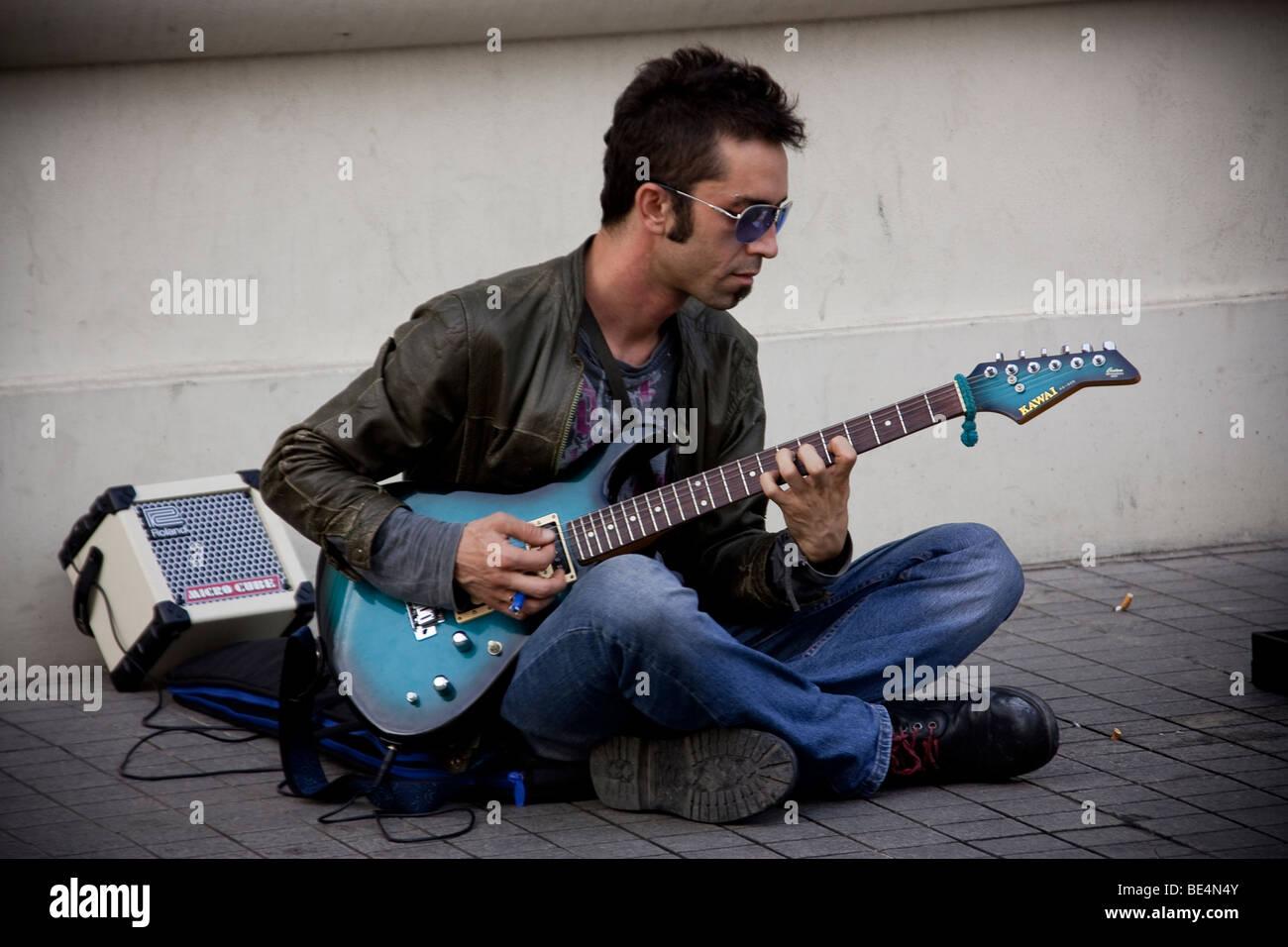 guitarist  ,istanbul - Stock Image