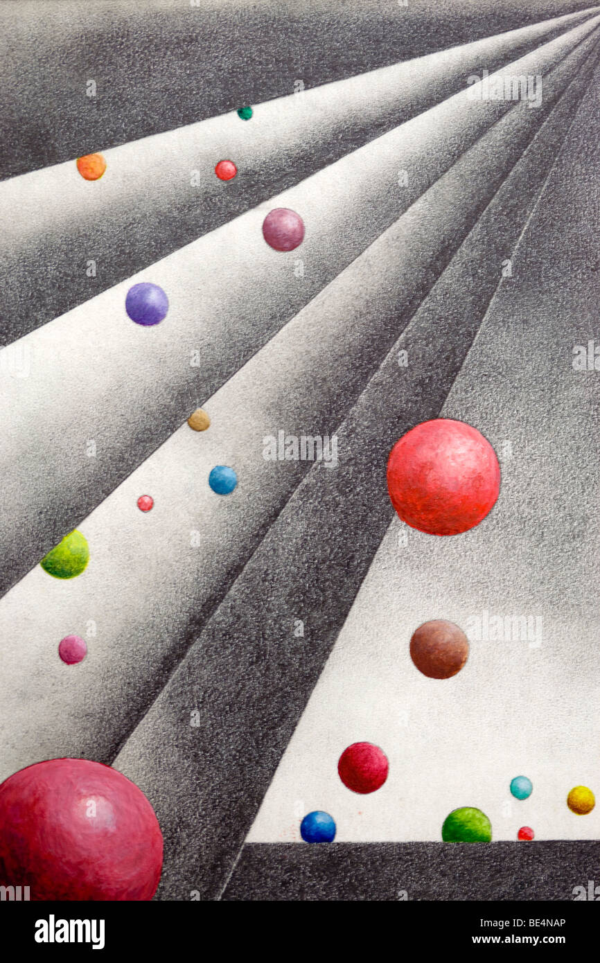 Pencil drawing, geometrical forms with colourful balls, by the artist Gerhard Kraus, Kriftel, Germany - Stock Image