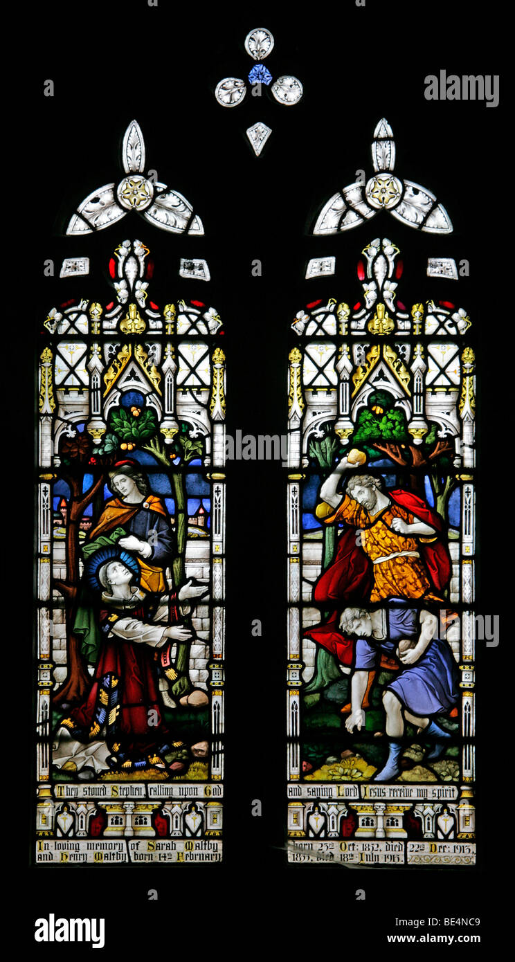 Stained Glass Windows Depicting the Stoning to Death of Saint Stephen, St Peter's Church Dunston, lincolnshire - Stock Image