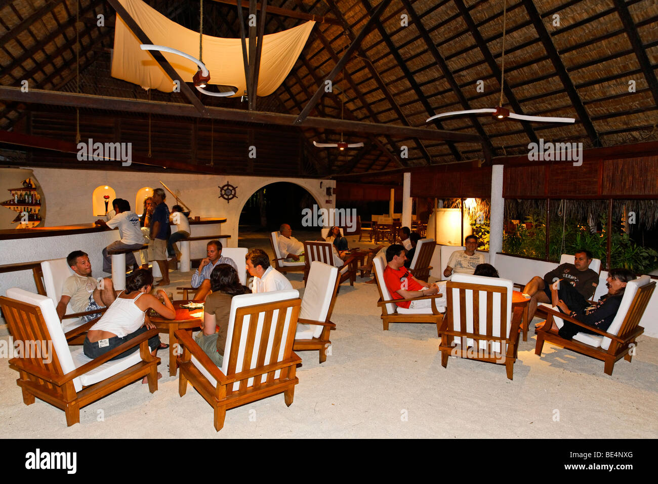 Hotel lobby with guests in the evening, illuminated, Maldive island, South Male Atoll, Maldives, Achipelago, Asia, - Stock Image