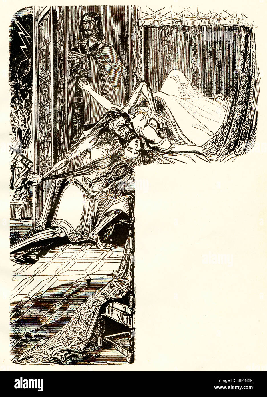Varney the Vampire, illustration from the novel by Thomas Preskett Prest on events in the England of Queen Anne Stock Photo