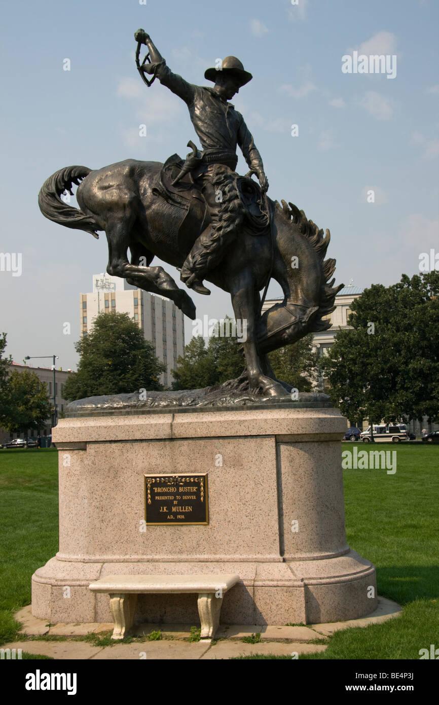 Bronco Buster statue, Denver Civic Center, Colorado, USA - Stock Image