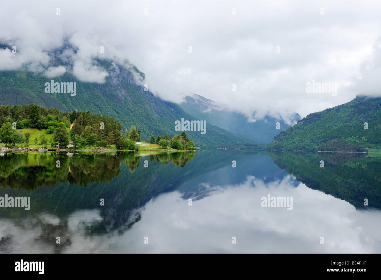 Bjorkedalsvatnet lake with reflection near Volda, Norway, Scandinavia, Europe - Stock Image