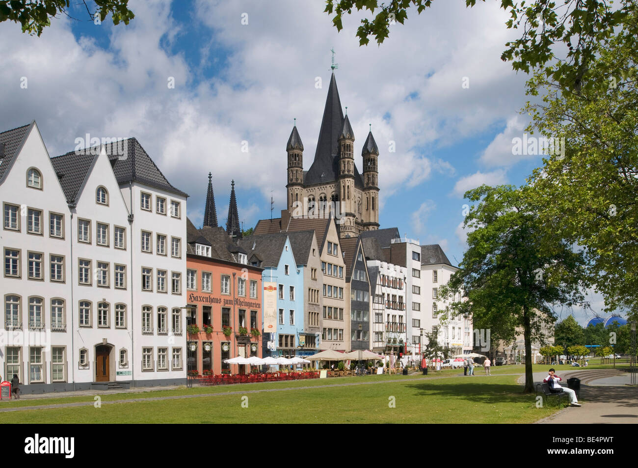 Cologne's historic town centre with Gross St. Martin Cathedral as seen from the bank of the Rhine River, Cologne, - Stock Image