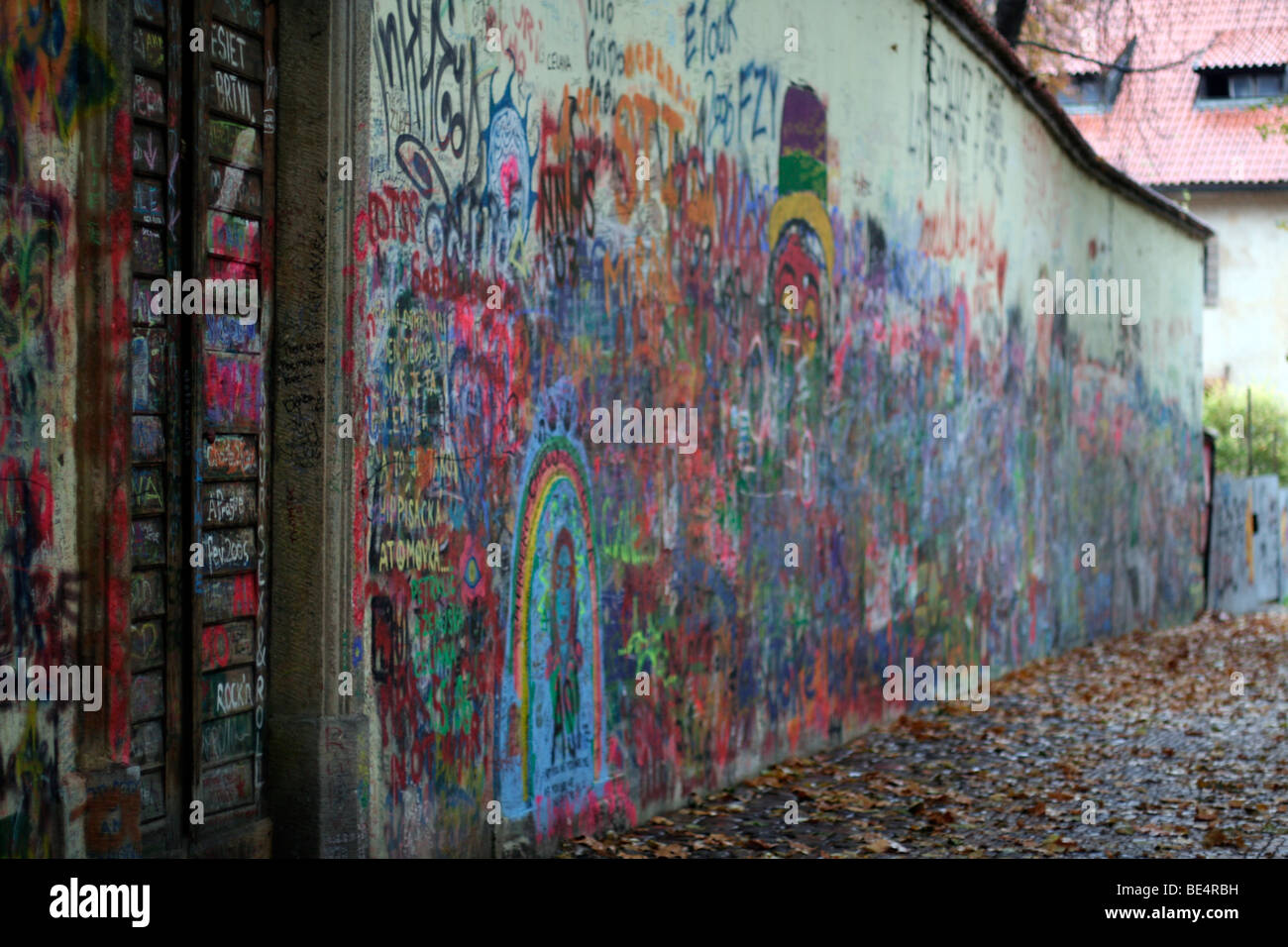 The Colorful Peace Wall in Prague - Stock Image