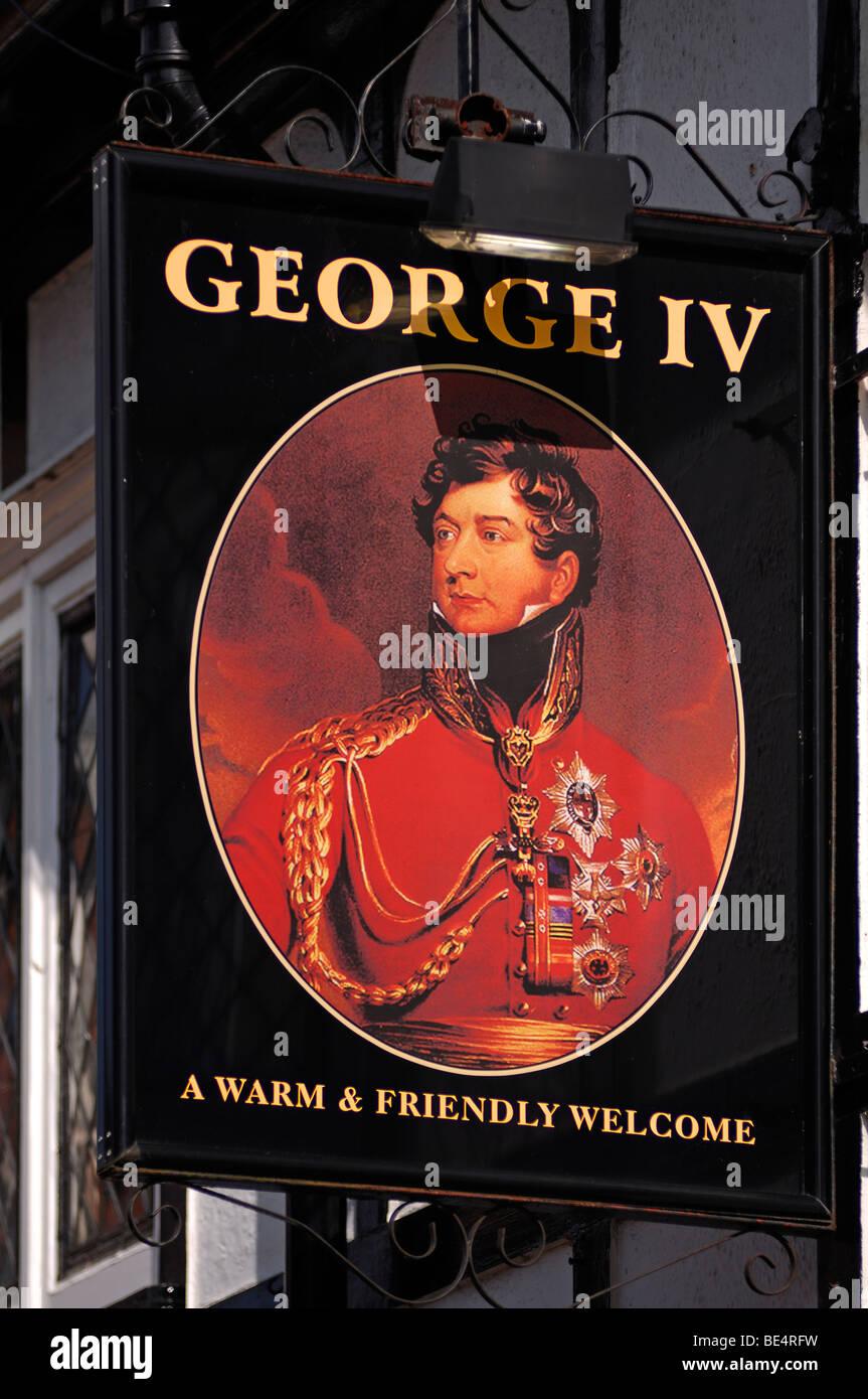 "Pub sign ""George IV"", Bore Street, Lichfield, Staffordshire, England, United Kingdom, Europe Stock Photo"