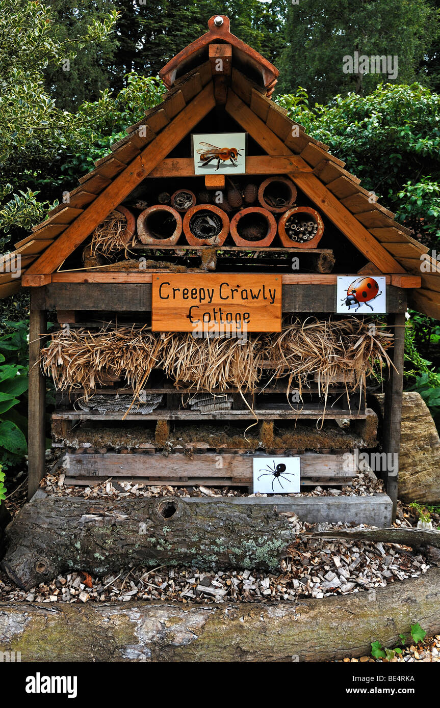 'Creepy Crawly Cottage', cabin for small animals and insects in the nature garden, 'Boughton House', - Stock Image