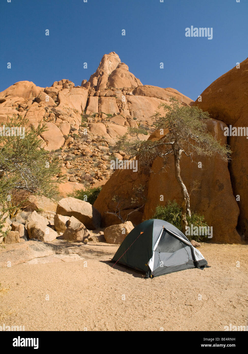 Campground at the foot of Spitzkoppe mountain, Namibia, Africa Stock Photo