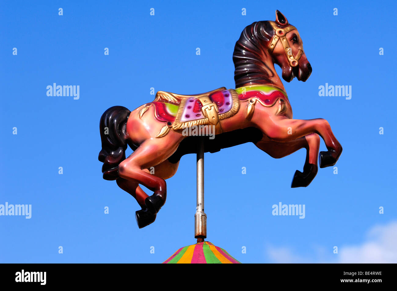 Colorful horse figure of a children's carousel, Lichfield, Staffordshire, England, United Kingdom, Europe Stock Photo