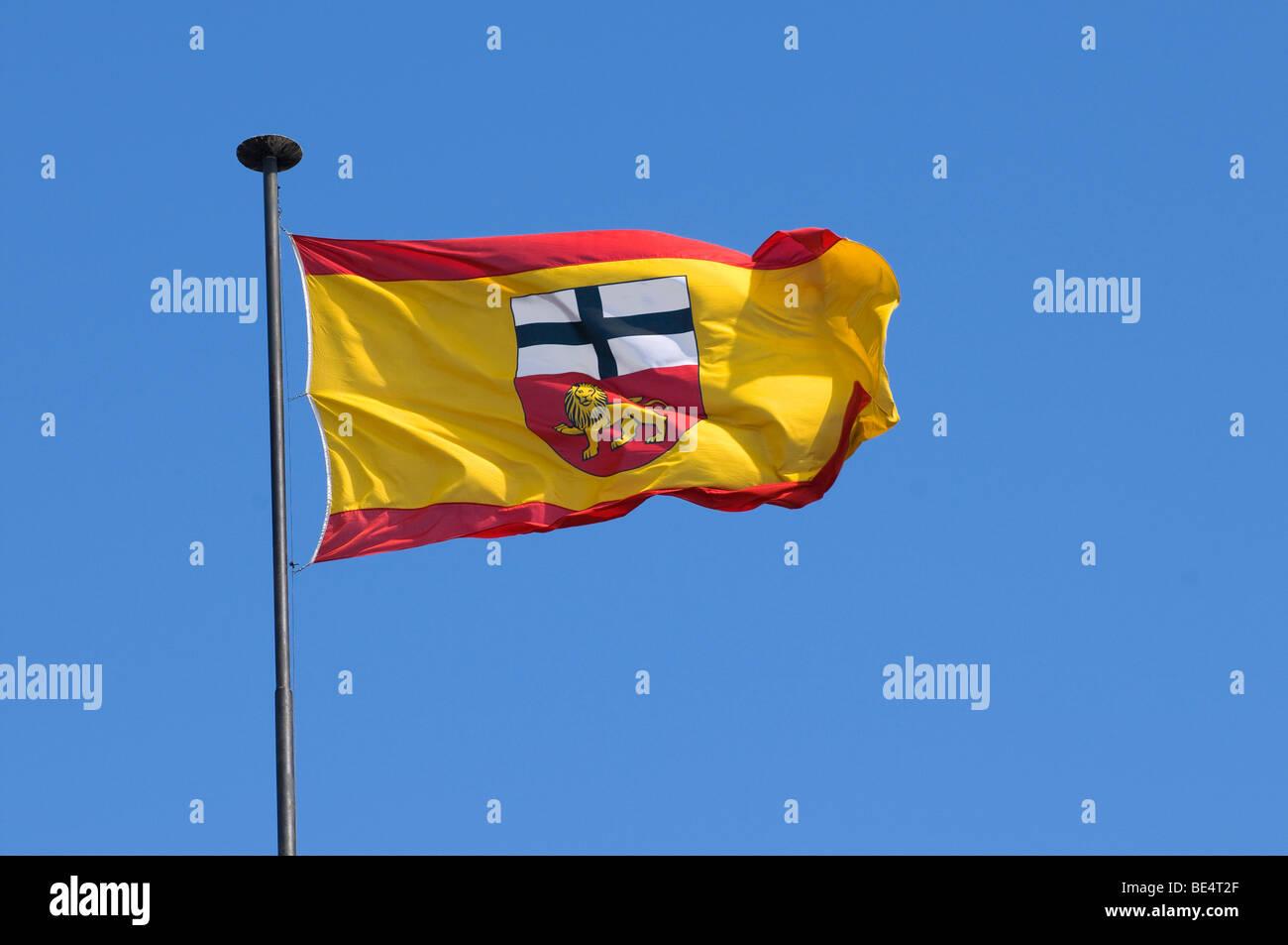 Fluttering flag of the city of Bonn, North Rhine-Westphalia, Germany, Europe - Stock Image