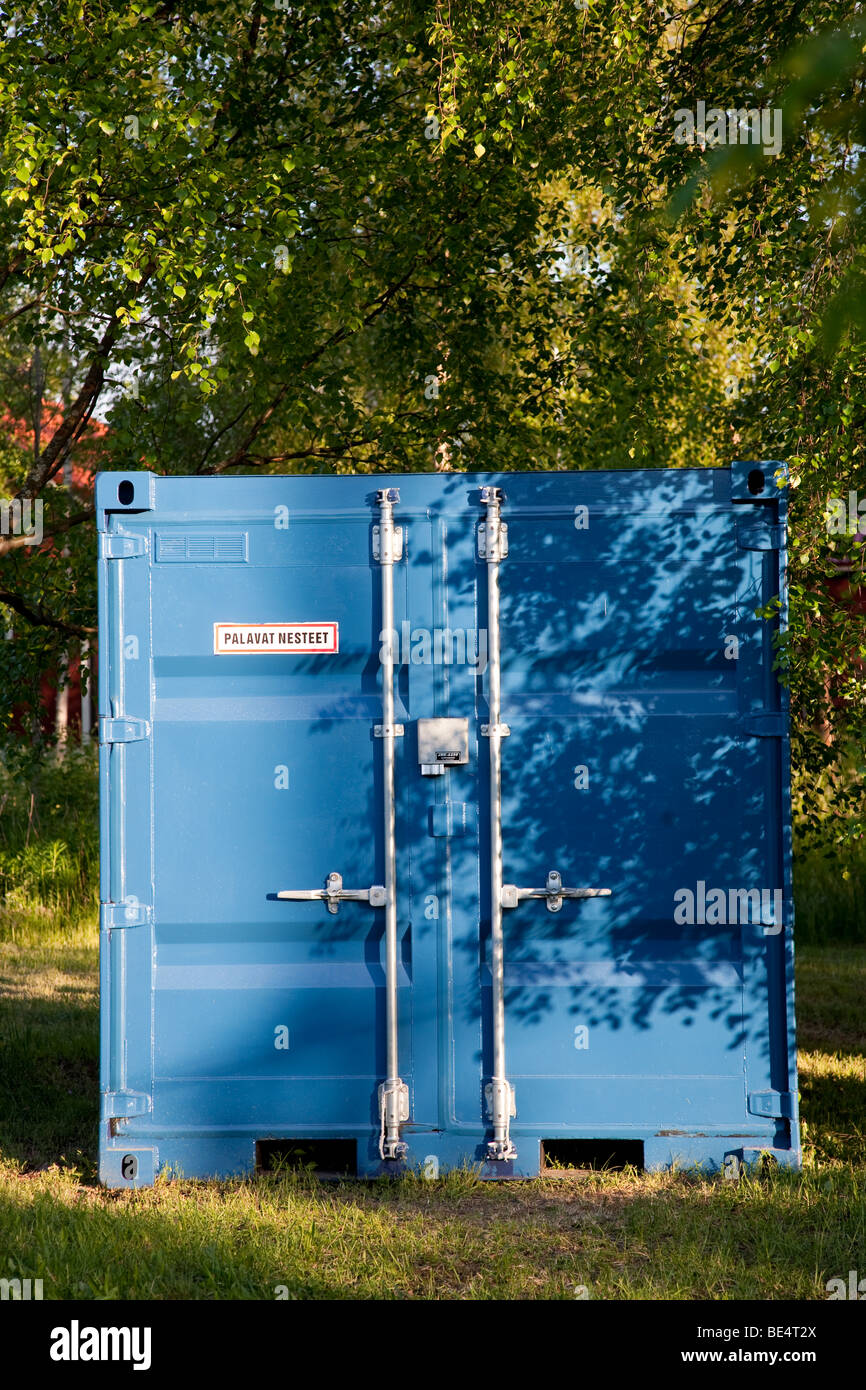 Blue metallic intermodal container - Stock Image