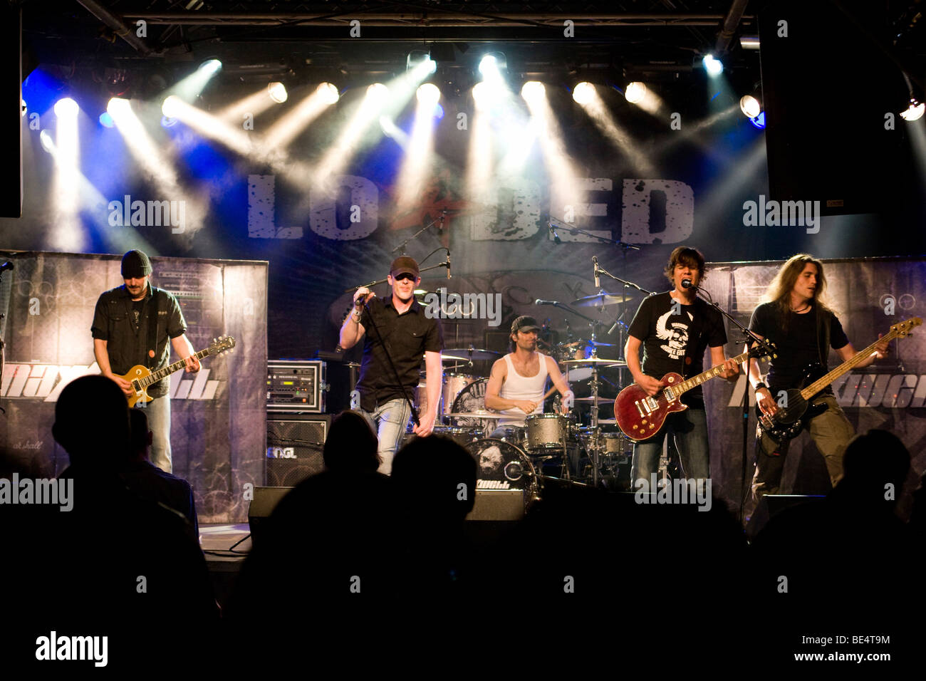 Swiss hard rock band Maxxwell live at the Schueuer Lucerne, Switzerland - Stock Image