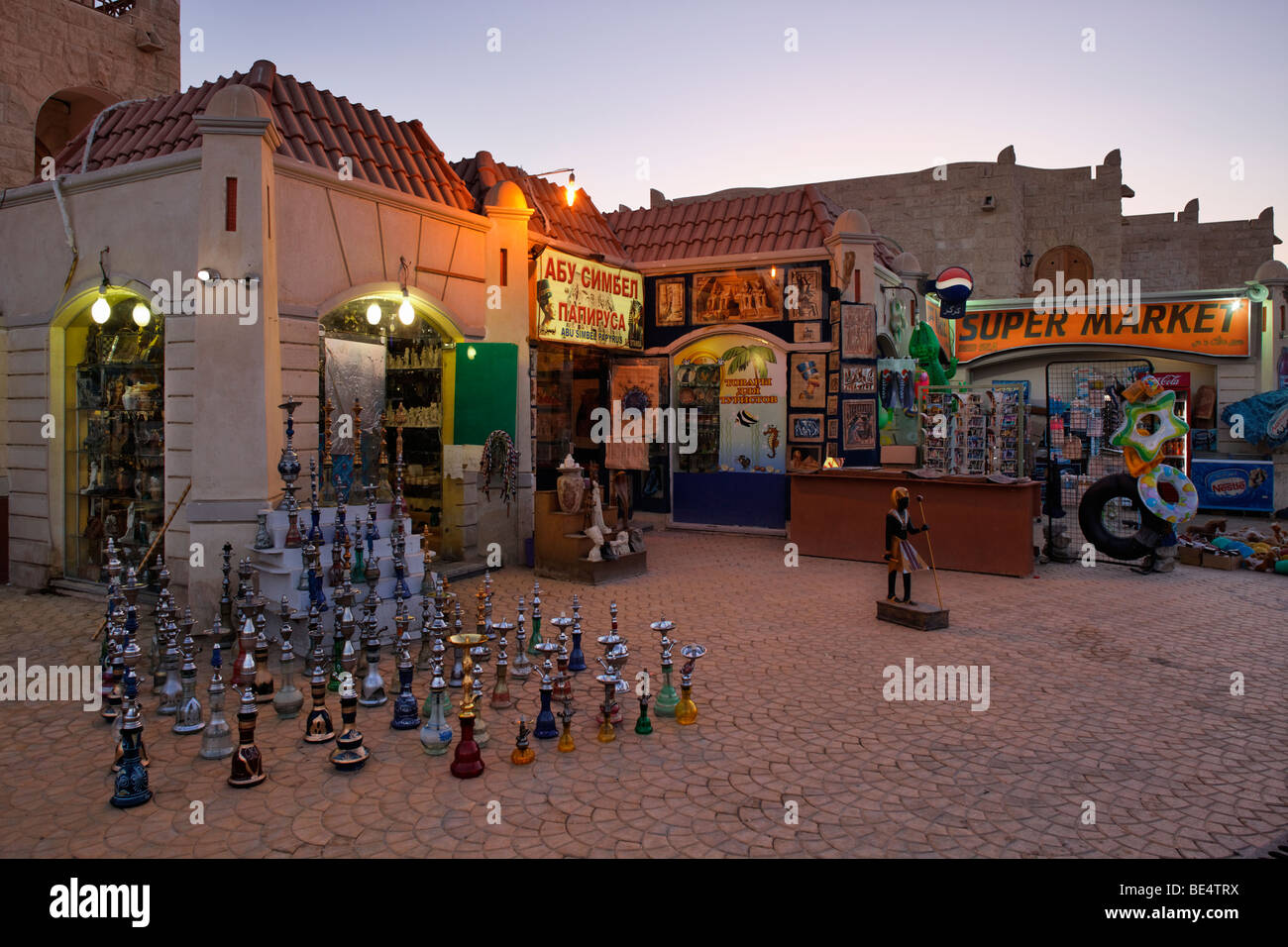 Souvenir shop, water pipes, shishas, illuminated, evening, Yussuf Afifi road, Hurghada, Egypt, Red Sea, Africa - Stock Image