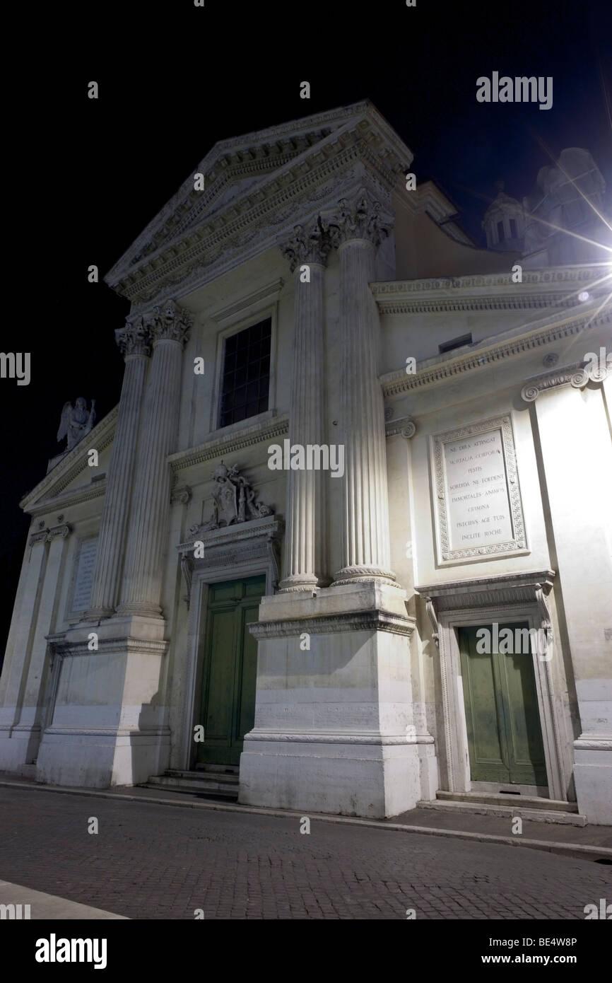 Rome, Italy. Night view of the church San Rocco in via di Ripetta. - Stock Image