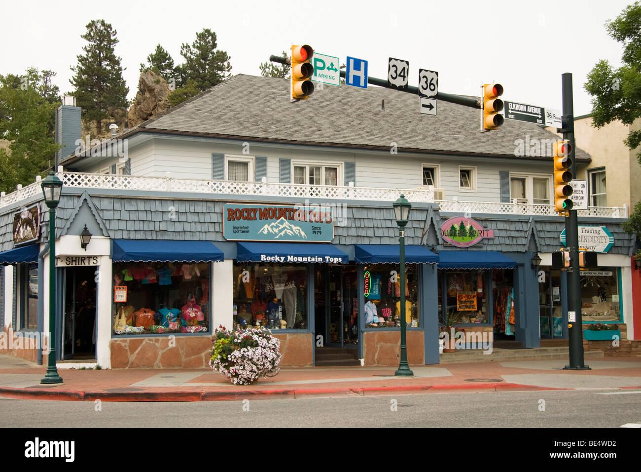 Shops in Estes Park, Colorado, USA - Stock Image