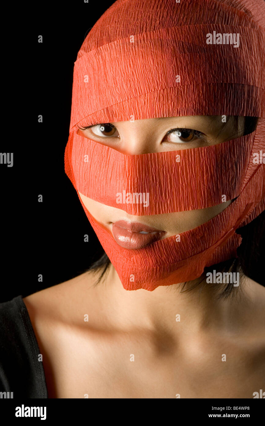 wrapped face Stock Photo