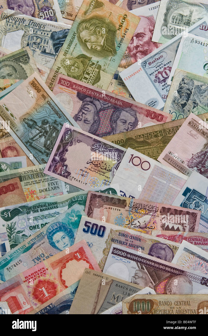 Collection of world currencies - Stock Image