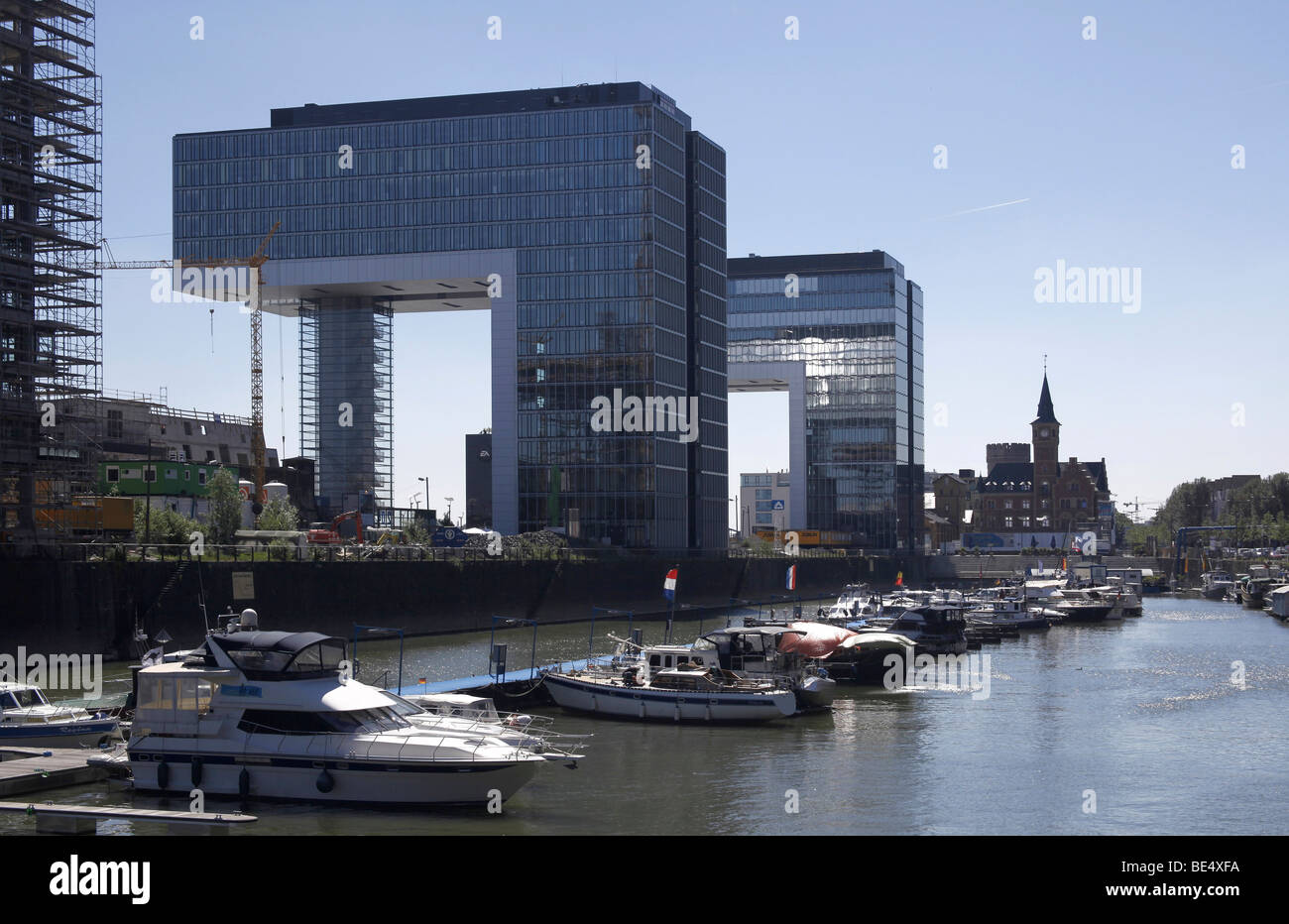 Crane houses and old Port Authority in the Rheinauhafen harbour, Cologne, Rhineland, North Rhine-Westphalia, Germany, - Stock Image
