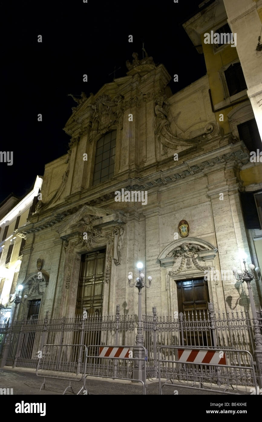 Rome, Italy. Nocturne view of the façade of the church Sant'Antonio dei Portoghesi, national church of - Stock Image