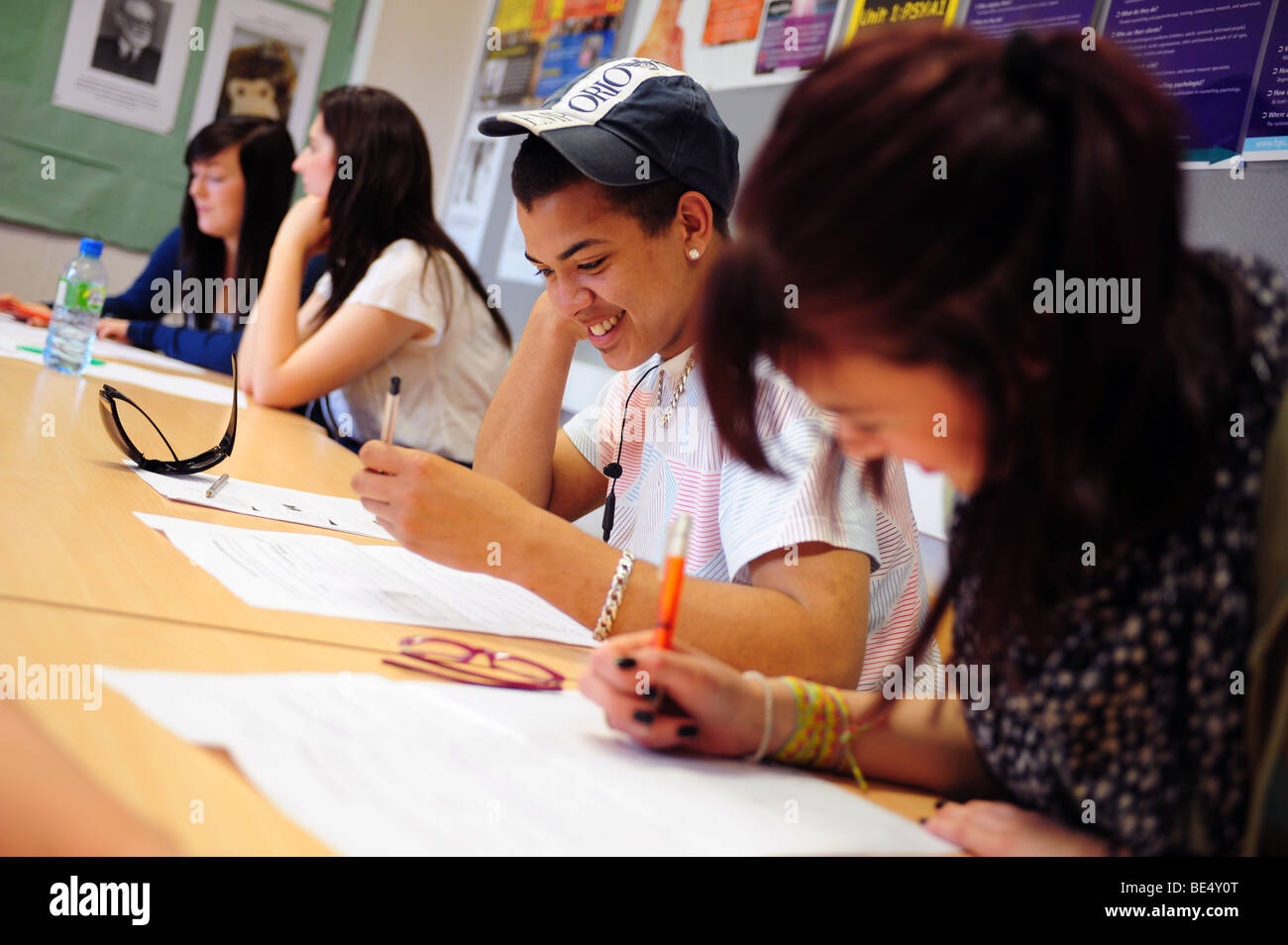 Young black male student at sixth form further education college Stock Photo