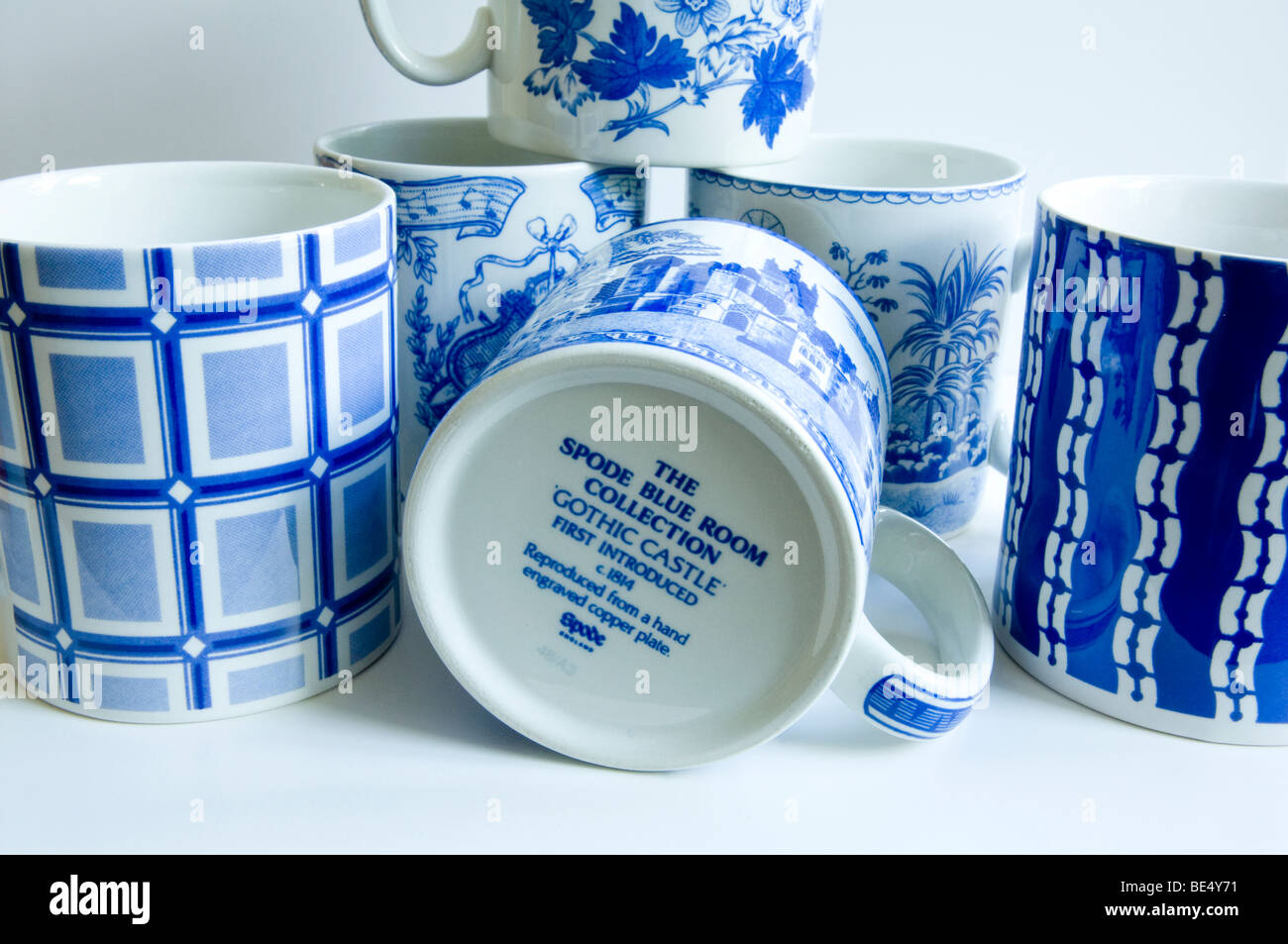 Spode Mugs from the 'Blue Room' collection. - Stock Image